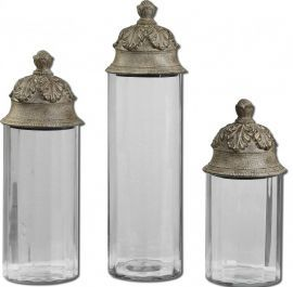 19714 Acorn Glass Cylinder Canisters, Set/3