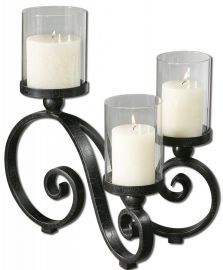 19739 Arla Black Crackle Candleholder