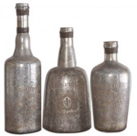 19753 Lamaison Mercury Glass Bottles S/3