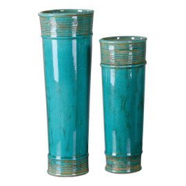 19835 Thane Teal Green Vases S/2