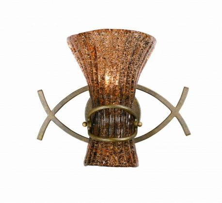 Series 2000 1 Light Wall Sconce In A Bronze Patina Finish And Amber Tinted Pastra Glass