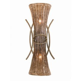 Seies 2000 2 Light Wall Sconce / Vanity In A Bronze Patina Finish And Hand Made Amber Beaded Glass Shades