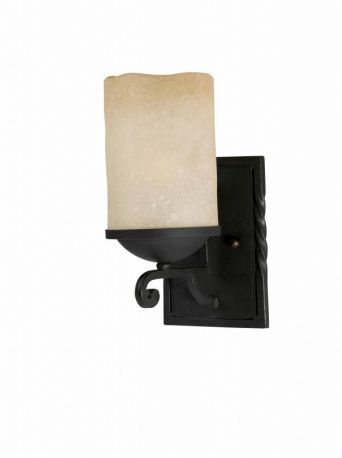 Series 2001 1 Light Wall Sconce In A Textured Black  Finish And Candle Like Tea Stained Scavo Glass