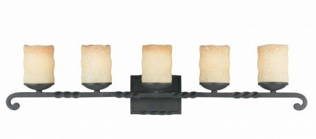 5 Light Bath Vanity  In A Textured Black  Finish And Candle Like Tea Stained Scavo Glass