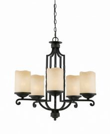 Series 2001 5 Light Chandelier  In A Textured Black  Finish And Candle Like Tea Stained Scavo Glass