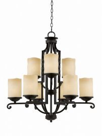 Series 2001 9 Light Chandelier  In A Textured Black  Finish And Candle Like Tea Stained Scavo Glass