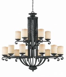 Series 2001 18 Light Entry Chandelier  In A Textured Black  Finish And Candle Like Tea Stained Scavo Glass