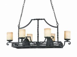 Series 2001 6+2 Light Pot Rack  In A Textured Black  Finish And Candle Like Tea Stained Scavo Glass