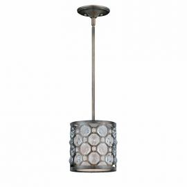 Series 2002 1 Light Mini Pendant In A Hand Painted Burnished Bronze Finish And Crystal Accents