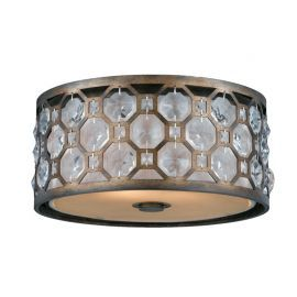Series 2002 2 Light Flush Mount In A Hand Painted Burnished Bronze Finish With Crystal Accents