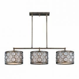Series 2002 3  Light Lsland Light In A Hand Painted Burnished Bronze Finish With Crystal Accents