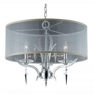 Series 2003 3 Light Pendant In A Polished Chrome Finish With Crystal And Acrylic Accents