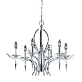 Series 2003 6 Light Chandelier In A Polished Chrome Finish With Crystal And Acrylic Accents