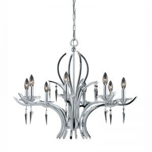 Series 2003 8 Light Chandelier In A Polished Chrome Finish With Crystal And Acrylic Accents