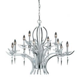Series 2003 12 Light Chandelier In A Polished Chrome Finish With Crystal And Acrylic Accents