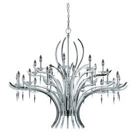 Series 2003 24 Light Entry Chandelier In A Polished Chrome Finish With Crystal And Acrylic Accents