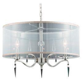 Series 2005 4 Light Pendant With Shade In A Satin Nickel Finish And Crystal Accents