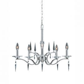 Series 2005 5 Light 1 Tier Chandelier In A Satin Nickel Finish With Crystal Accents