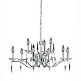 Series 2005 9 Light 2 Tier Chandelier In A Satin Nickel Finish With Crystal Accents