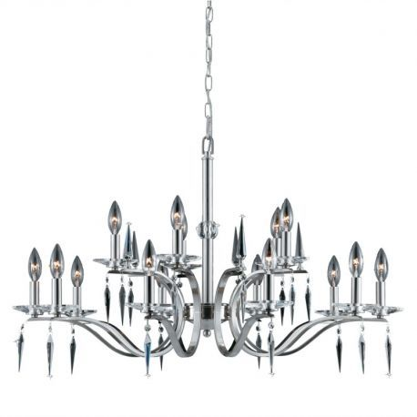 Series 2005 15 Light 2 Tier Chandelier In A Satin Nickel Finish With Crystal Accents