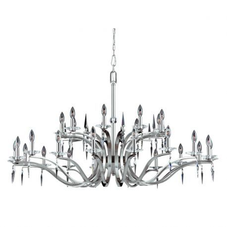 Series 2005 27 Light Entryway Chandelier In A Satin Nickel Finish With Crystal Accents