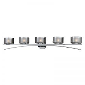 Series 2008 5 Light Xenon Bath Vanity In A Chrome Finish With Chrome Plated Glass Shades