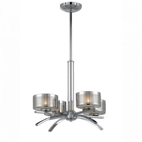 Series 2008 4 Light Chandelier In A Chrome Finish With Chrome Plated Glass Shades