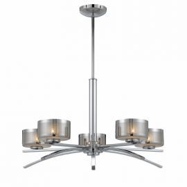 Series 2008 5 Light Chandelier In A Chrome Finish With Chrome Plated Glass Shades