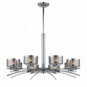 Series 2008 8 Light Chandelier In A Chrome Finish With Chrome Plated Glass Shades