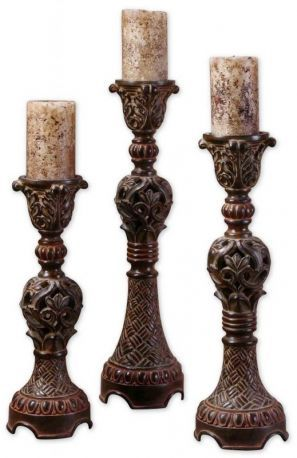 20312 Rosina Walnut Brown Candlesticks, Set/3