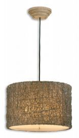 21105 Knotted Rattan Light Drum Pendant