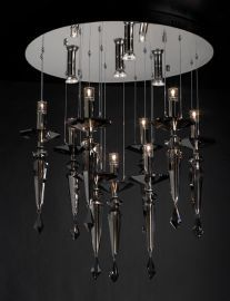 23666 PC Smoked Crsytal Lamore Chandelier