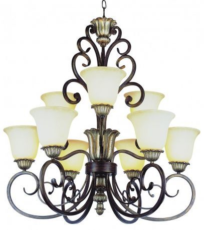 Ebony Gold Champagne Frost Glass 2 Tier Chandelier