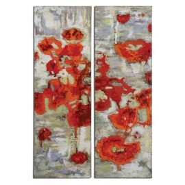 31201 Scarlet Poppies Floral Art S/2