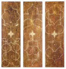 32132 Scrolled Hand Painted Panels Set/3