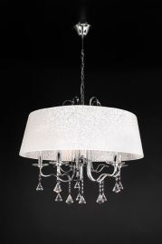 34128 PC White Textured Shade Lily Chandelier
