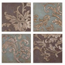 35223 Damask Relief Blocks Wall Art Set/4