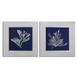 41520 Seaweed On Navy Wall Art S/2