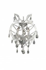 4307-3c 3 Light Clear Crystal Chandelier, Crystal And Iron, Chrome Canapoy