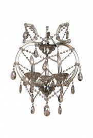 4307-3gt 3 Light Champagne Crystal Chandelier, Crystal And Iron, Chrome Canapoy