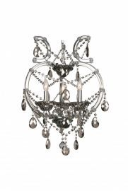 4307-3smk 3 Light Smoky Color Crystal Chandelier, Crystal And Iron, Chrome Canapoy
