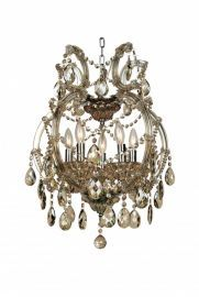 4307-5gt 5 Light Clear Champagne Chandelier, Crystal And Iron, Chrome Canapoy
