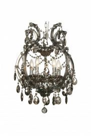 4307-5smk 5 Light Smoky Crystal Chandelier, Crystal And Iron, Chrome Canapoy