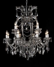 4307l-smk 12 Light Smoky Color Crystal Chandelier