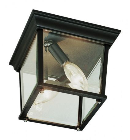 "Cubed 9 1/4"" Wide Outdoor Ceiling Light In Black-Gold"