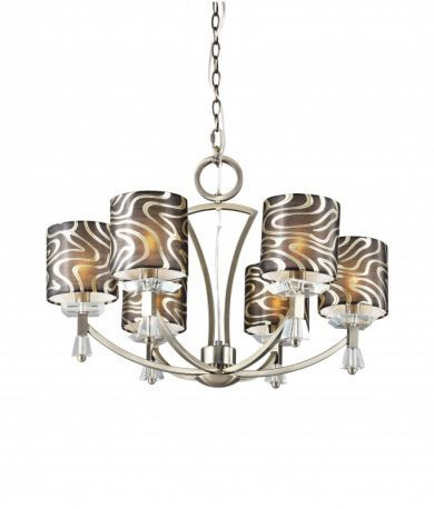 Crystal Square 6 Retro Chandelier Brass