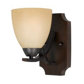 Series 8000 1 Light Sconce In A  Bronze Finish With Tea Stained Glass Shades
