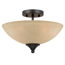 Series 8000 2 Light Semi-flushmount In A Bronze Finish And  Tea Stained Glass