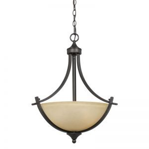 Series 8000 3 Light Pendant In A Bronze Finish And Tea Stained Glass
