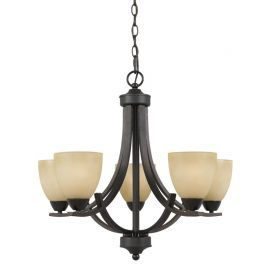 Series 8000 5 Light Chandelier In A  Bronze Finish And  Tea Stained Glass
